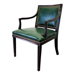 HANCOCK & MOORE Green Leather Banker Accent Chair w Nailhead Trim