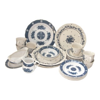Harmony House Blue & White Mismatched Transfer Ware Dinnerware Places Settings of 6 (22 Pcs.)