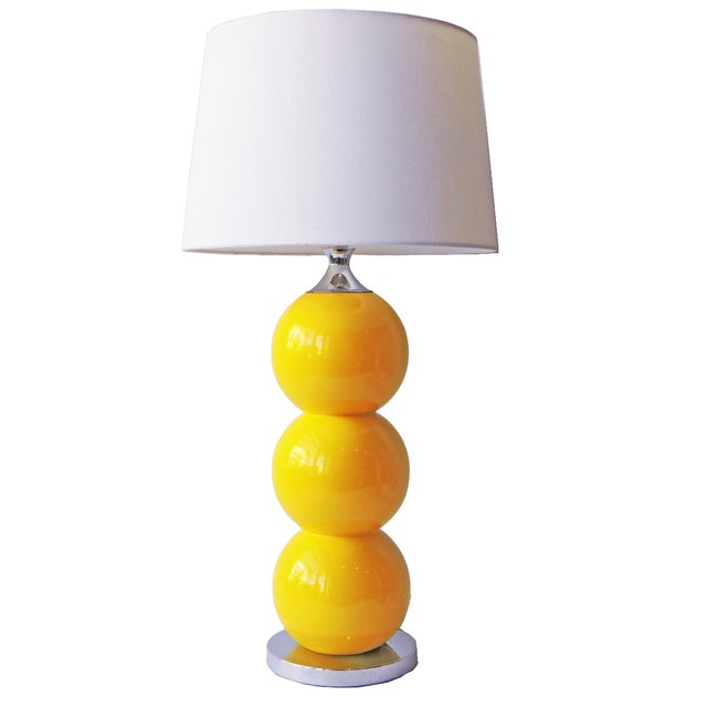 Vintage Yellow Ceramic and Chrome Lamp - Image 1 of 3