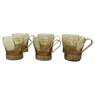 Vintage Greek Key Mugs - Set of 6