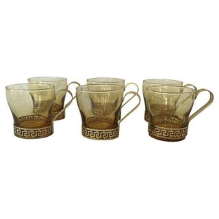 Vintage Greek Key Mugs - Set of 6