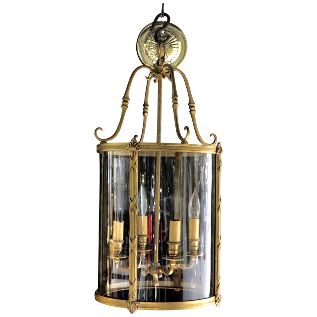 French Style Glass Hanging Lamp - Image 1 of 7