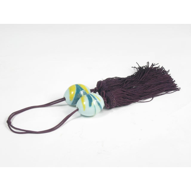 Chinese Wine and Aqua Braided Tassels - A Pair - Image 3 of 4