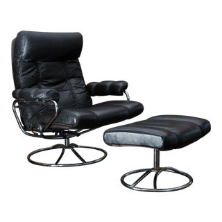 Vintage Ekornes Leather Stressless Recliner and Ottoman