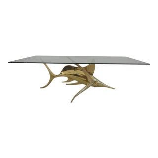 Signed Alain Chervet Brass Dolphin Coffee Table Base