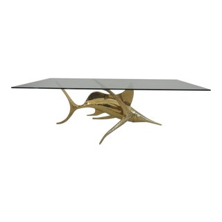 Signed Alain Chervet Brass Dolphin Coffee Table Base