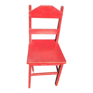 Distressed Children's Red Chair
