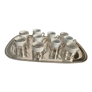 Silverplate Ceramic Espresso Cups & Tray - Set of 10