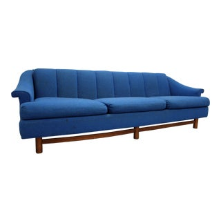 Mid-Century Danish Modern 3-Cushion Blue Walnut Sofa