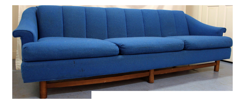 Mid Century Danish Modern 3 Cushion Blue Walnut Sofa
