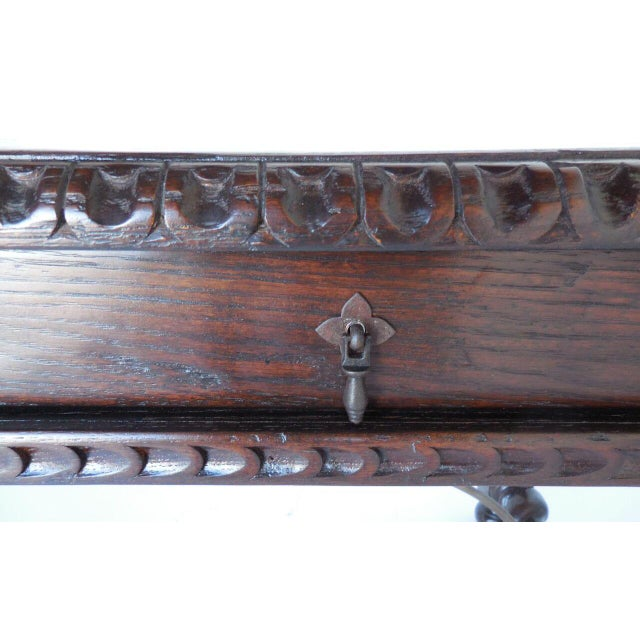 Custom Wood Writing Desk with Spiral Legs, Two Drawers and Iron Supports - Image 8 of 9