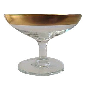 Dorothy Thorpe Gold Rimmed Footed Dish
