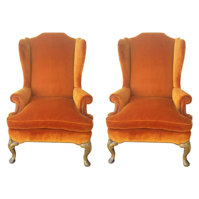 French Louis XV Style Wingback Chairs - Pair - Image 1 of 5