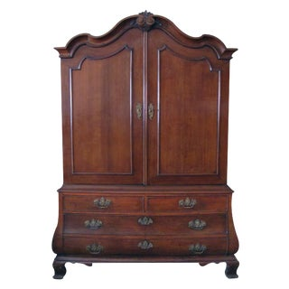 Handsome & Warmly Patinated Dutch Rococo Bombe-Form Carved Oak Two-Door Cabinet