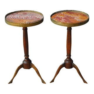 Louis XVI Marble Top Gueridon Drink Tables - a Pair