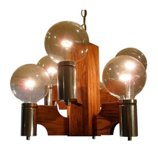 MCM Six Orbed Chrome and Oak Swag Light - Pair
