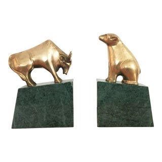 Vintage Brass Bear and Bull Bookends on Marble Bases