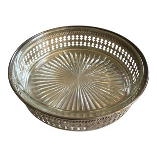 Antique Silver Drink Tray with Glass Insert