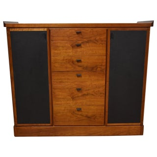 Walnut and Black Vinyl Armoire Dresser