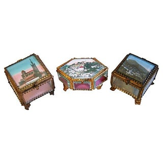 Antique French Ormolu Jewelry Boxes - Set of 3