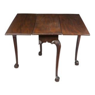Chippendale Striped Mahogany Drop Leaf Table with Claw & Ball Feet
