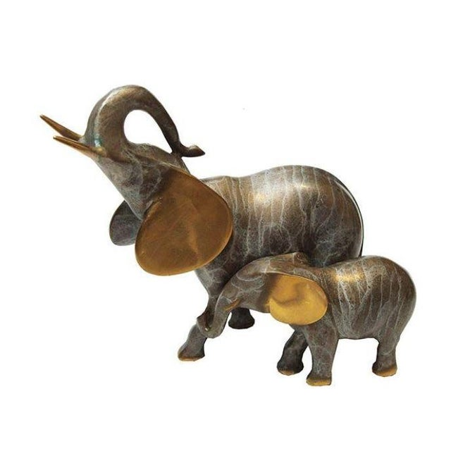 Image of Brass Elephant Mama and Baby