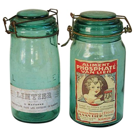Early 1900s French Preserve Canning Jars - Pair - Image 1 of 6