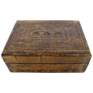 Walnut-Stained Carved Wooden Box
