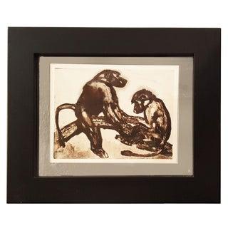1930s Vintage Framed Monkey Sketch