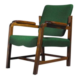 Flemming Teisen Mahogany Chair with Leather Armrests, Denmark, 1939