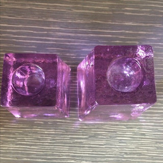 Purple Ice Cube Candle Holders - A Pair - Image 4 of 5