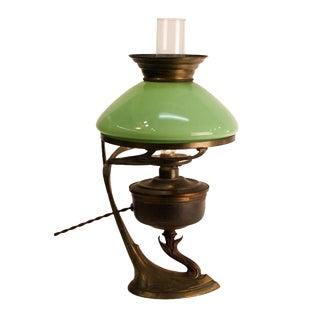 Green Art Nouveau Table Lamp
