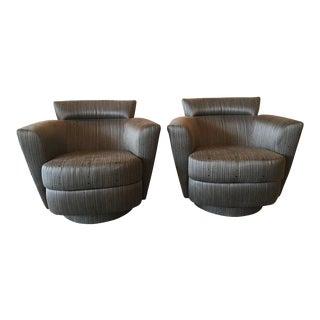 Vintage Vladimir Kagan Style Swivel Chairs Armchairs Platform Base - a Pair