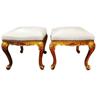 French Giltwood & White Leather Stools - A Pair