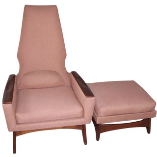 1970s High-Back Chair & Ottoman in Salmon