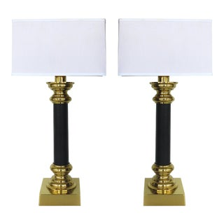 Stiffel Brass and Leather Column Table Lamps - a Pair