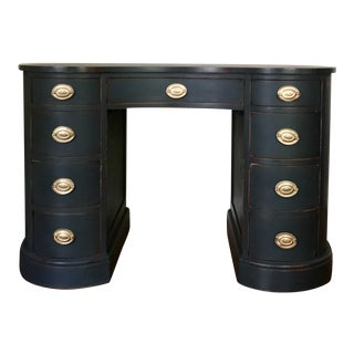 Pure Mahogany Kidney Shaped Desk in Annie Sloan's Graphite