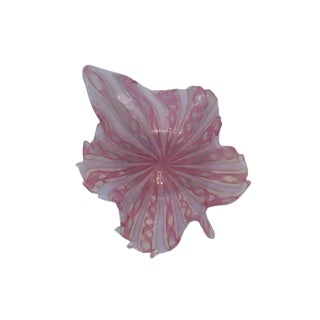 Pink Murano Glass Leaf Bowl