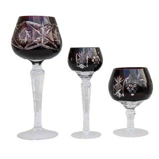 Burgundy Crystal Goblets - Set of 3