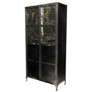 European Vintage Metal Industrial Mirrored Two Door Cabinet Bookcase