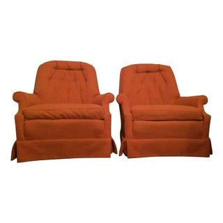 Mid-Century Sherrill Tufted Swivel Chairs - A Pair