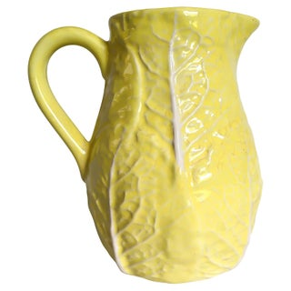 Vintage Sunny Yellow Majolica Cabbage Leaf Pitcher