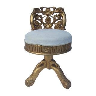Opulent Gilt Enamel Carved Wood Swivel Chair