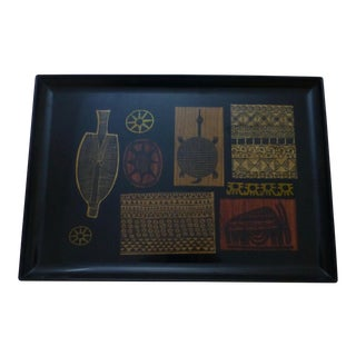 Couroc Mid-Century Tribal Inspired Serving Tray