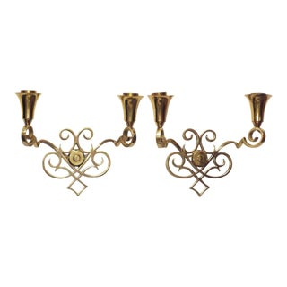 Scrolling Brass Wall Sconces - A Pair