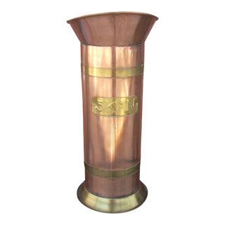 Copper & Brass Cylinder Bucket