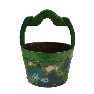 Chinese Lotus Flower Wood Bucket