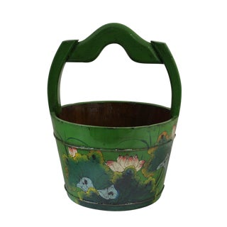 Chinese Lotus Flower Wood Bucket