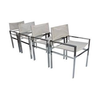 Milo Baughman Flat Bar Dining Chairs - Set of 4