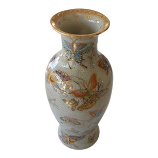 Vintage Chinese Hand Painted Pottery Butterfly Vase